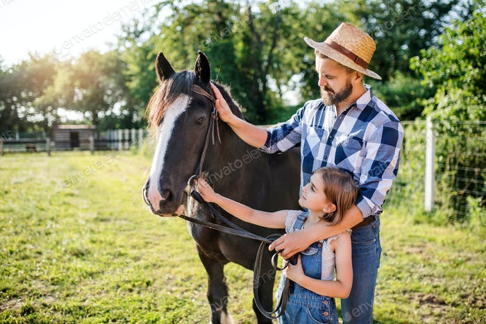 Mature father and small daughter with horse working on small family animal farm
