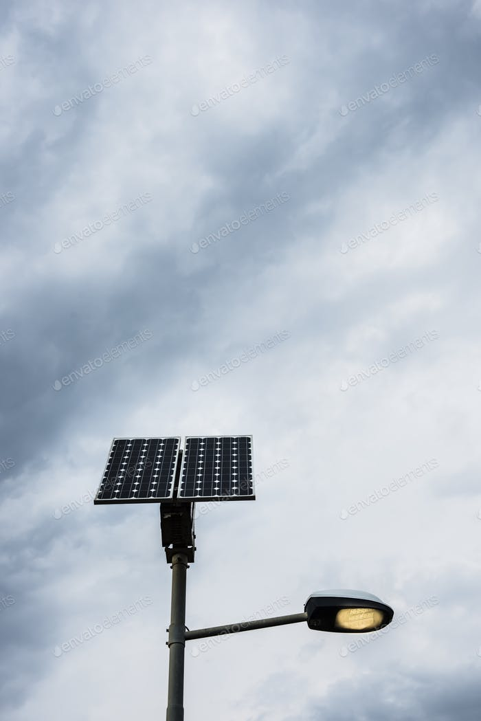 Solar panel on street lamp post