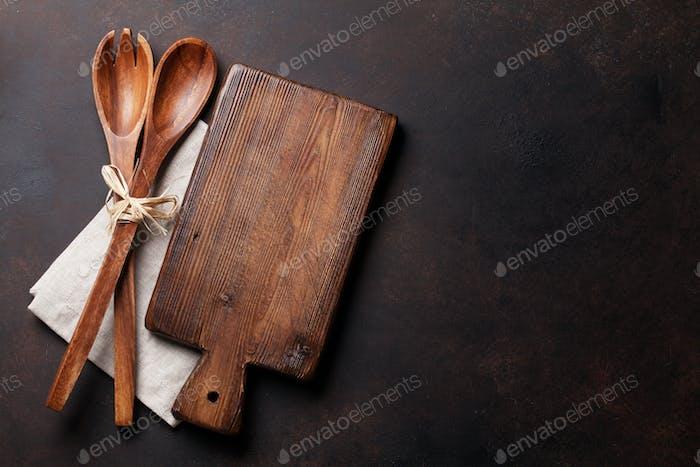 Old vintage kitchen utensils. Top view