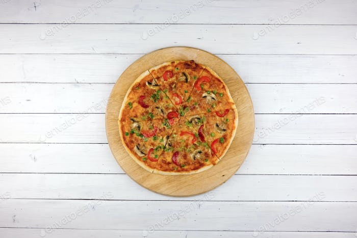 Top view of baking vegetables pizza
