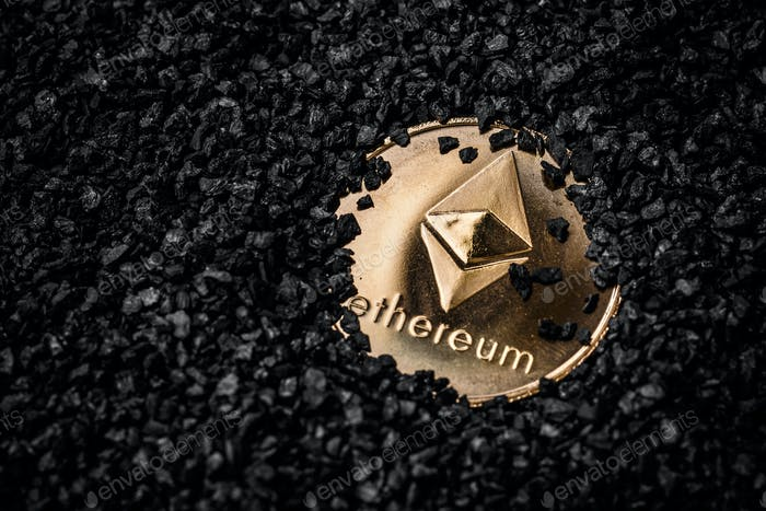 Ethereum cryptocurrency golden coin
