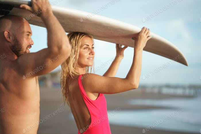 Surfers in summer