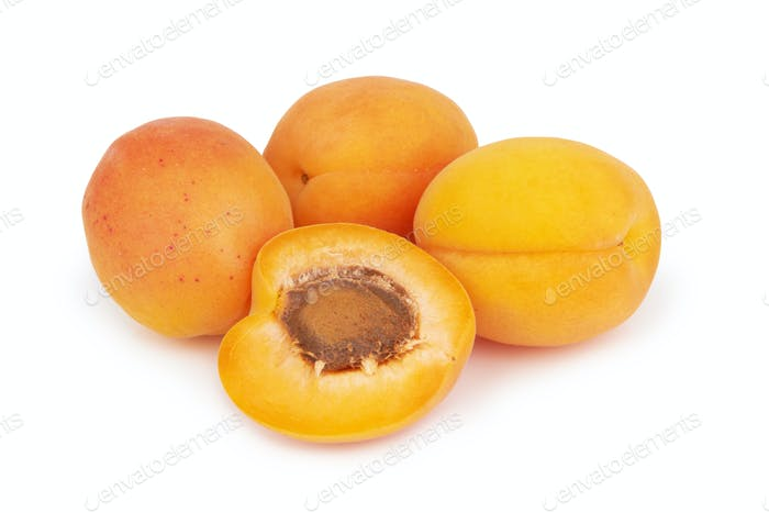 Apricots heap isolated on a white background