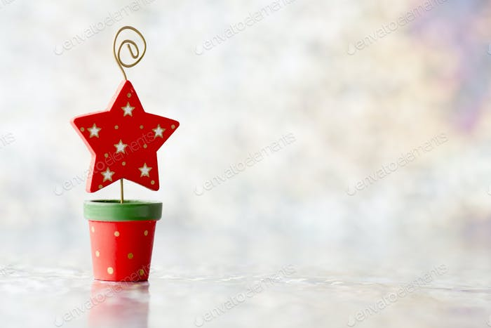Christmas spruce - silver bokeh defocused. Stock image.