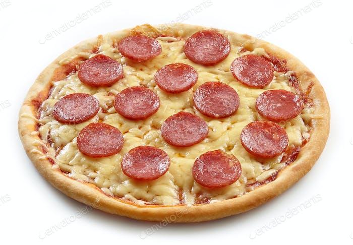 freshly baked salami pizza