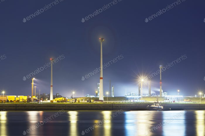 Wind Generation In Harbor At Night