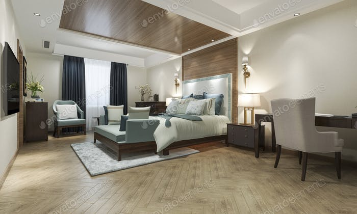 classic luxury bedroom suite in hotel with tv and working table and european style furniture