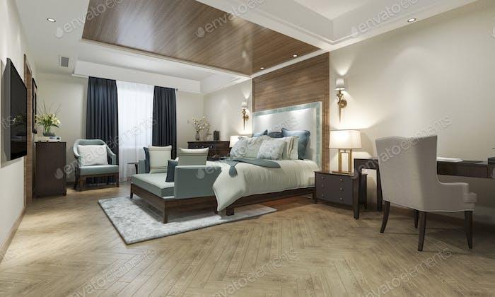 Klassische Luxus-Schlafzimmer-Suite im Hotel mit TV und Arbeitstisch und europäischen Möbeln