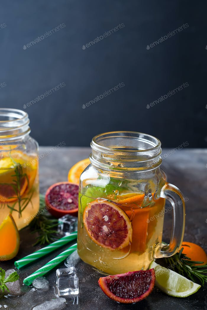orange lemonade on a jar