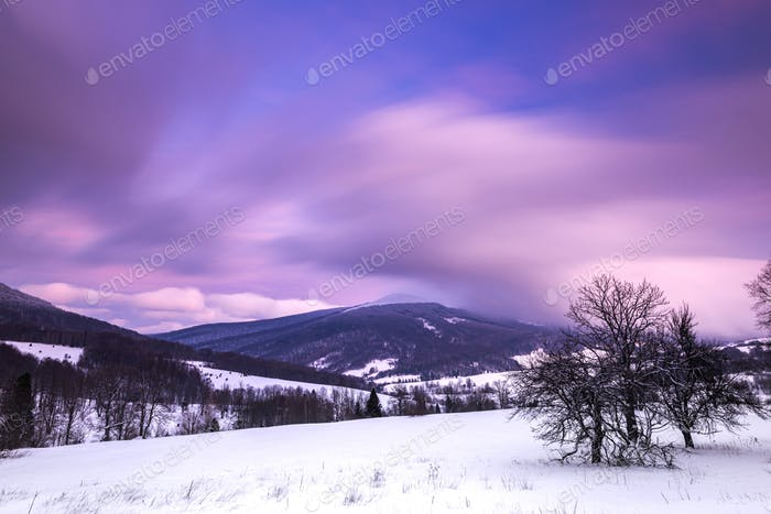Pastel Pink Sunrise over Bieszczady Mountains in Poland. Long Exposure Photo. Panoramic View