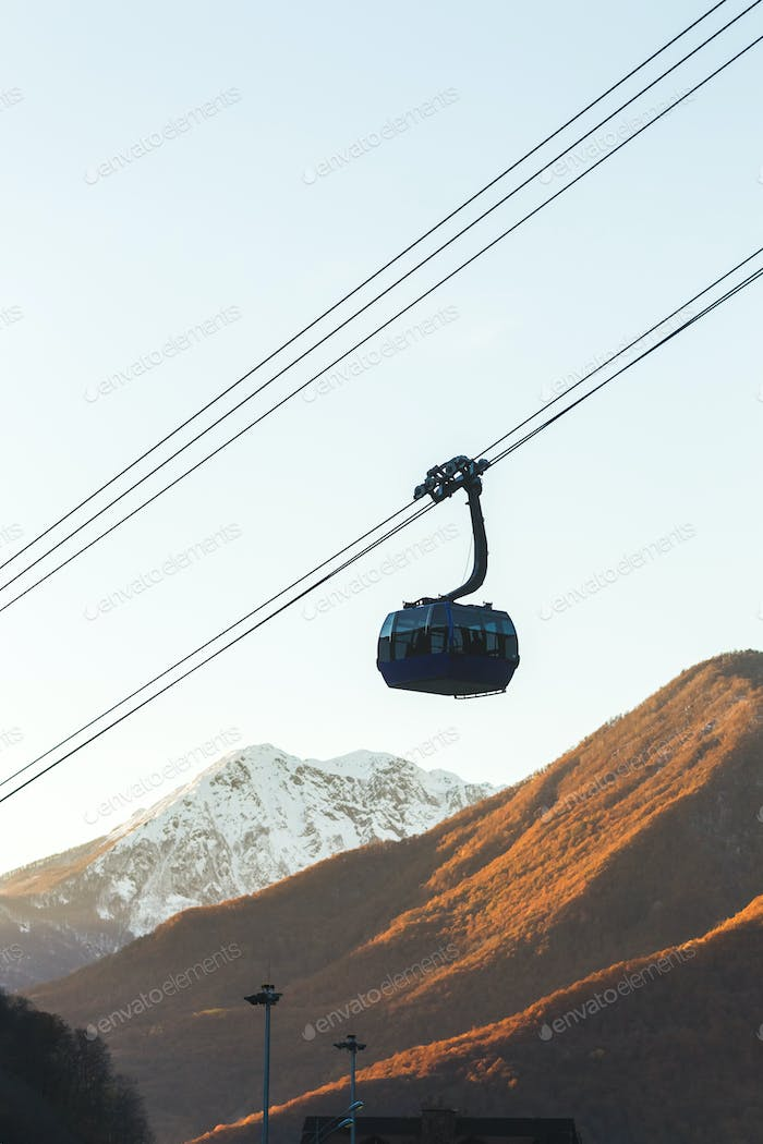 Modern cableway in the mountains