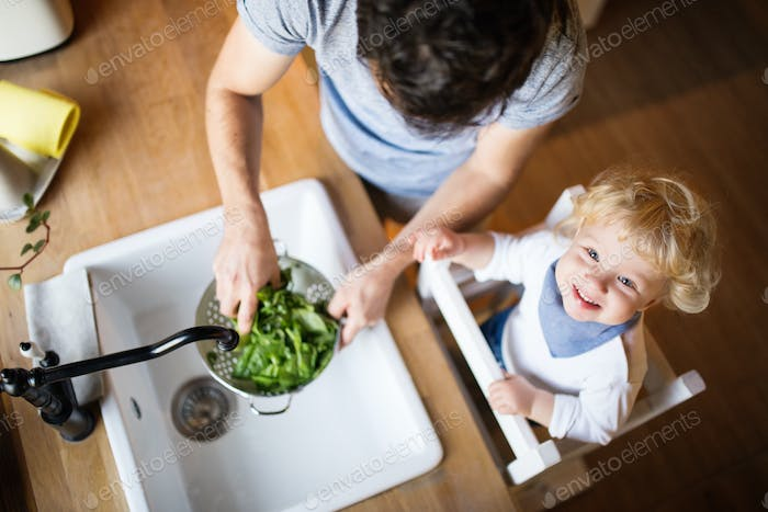 Young father with a toddler boy cooking.