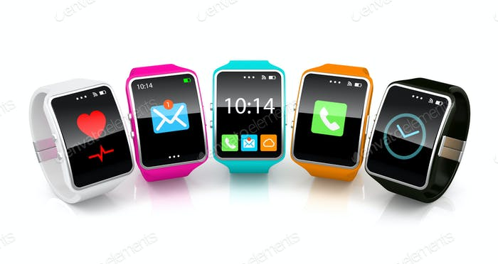 Colorful smart watchs on white