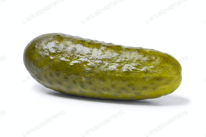 Single pickled gherkin close up