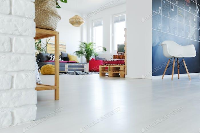 Designer interior with living room