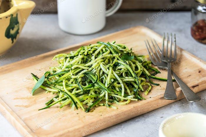 Zucchini pasta in Pesto sauce
