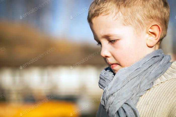 Child portrait little boy in sweater and scarf