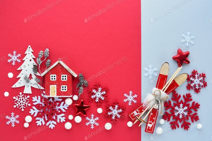 Christmas decorations on red and gray background