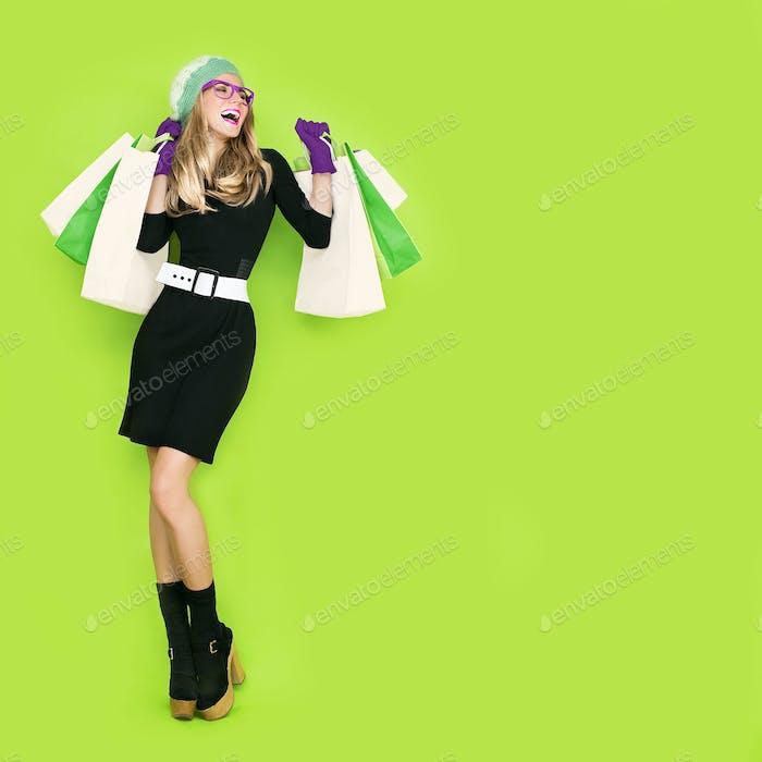glücklich Mädchen bio shopping