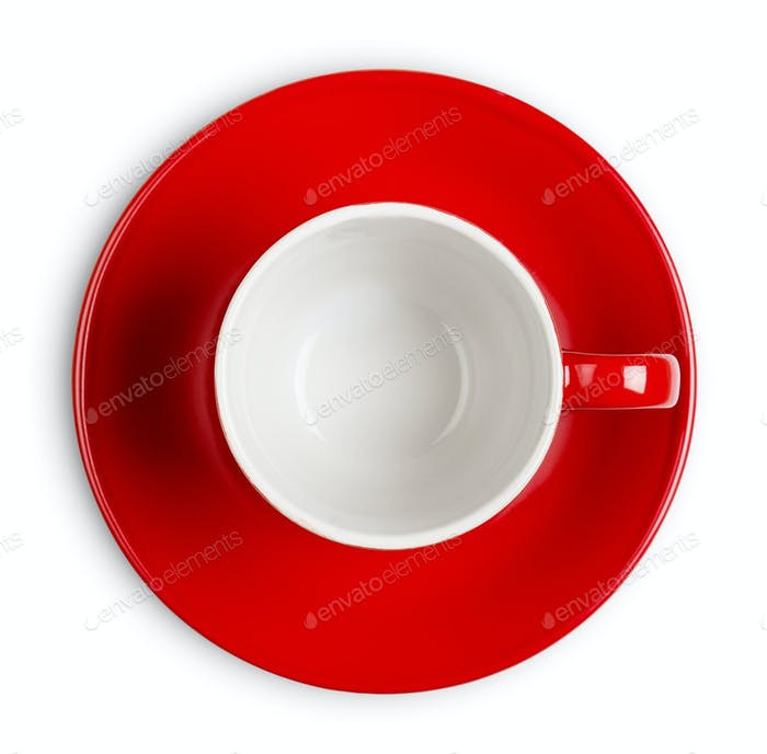 Red empty cup isolated