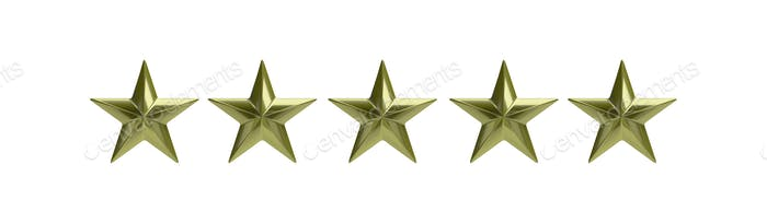 Five golden stars isolated against white, rating concept. 3d illustration