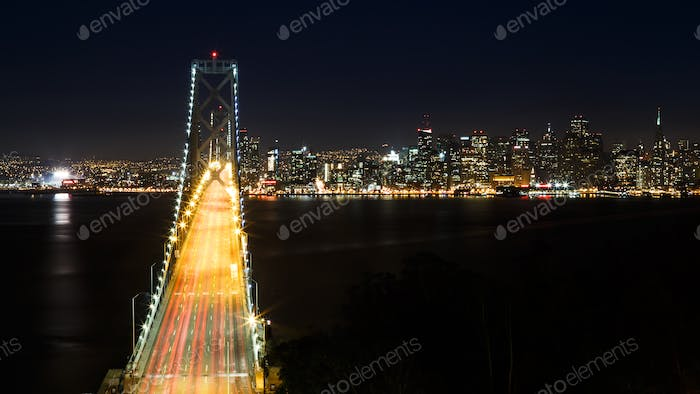 Bay Bridge and San Francisco Skyline at Night