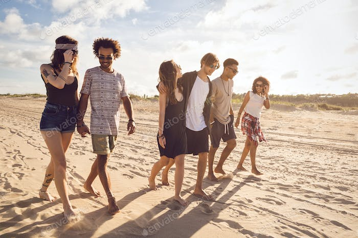 Multiethnic group of friends walking on the beach