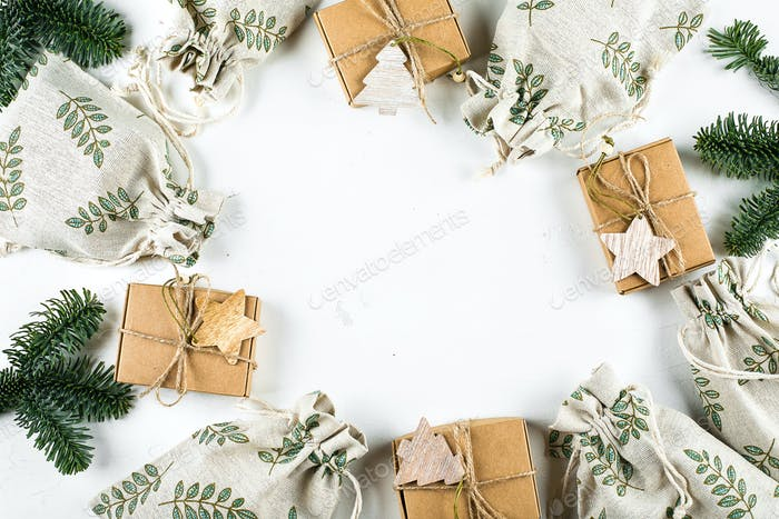 Christmas Gift Flat lay. Zero Waste Gift Wrapping Holiday Season Eco-friendly. Craft Boxes, Pouches