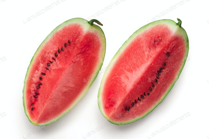 Fresh ripe cut watermelon on white background
