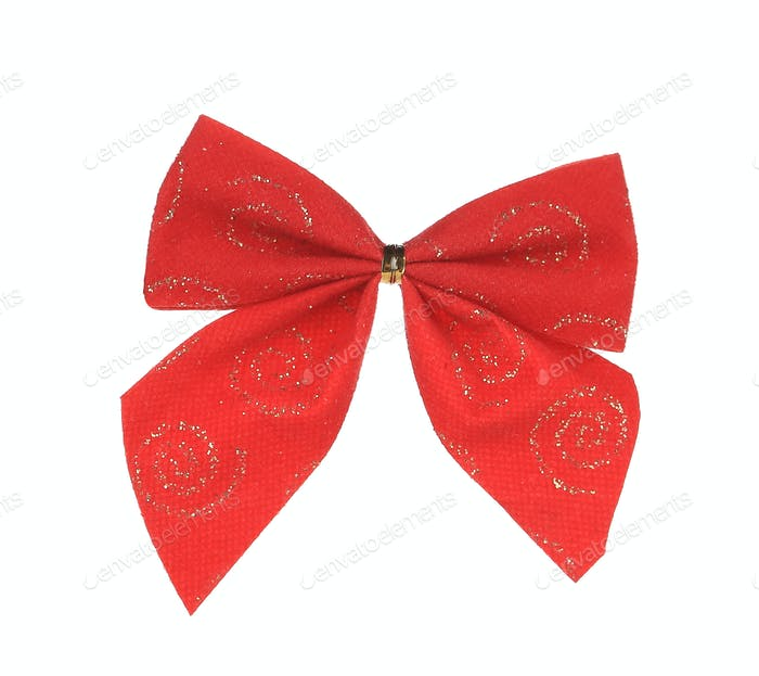 Red bow made of ribbon.
