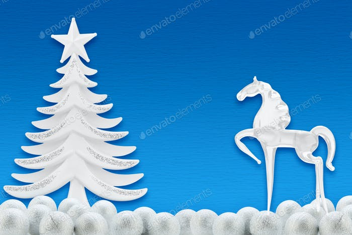 Christmas tree and horse on a background of blue paper