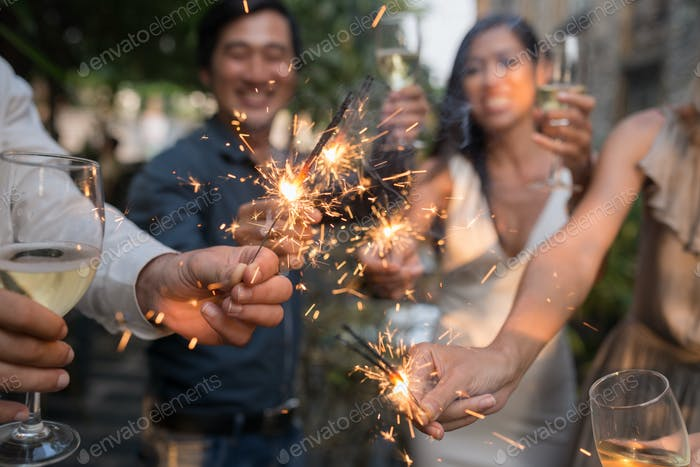 Glowing sparklers