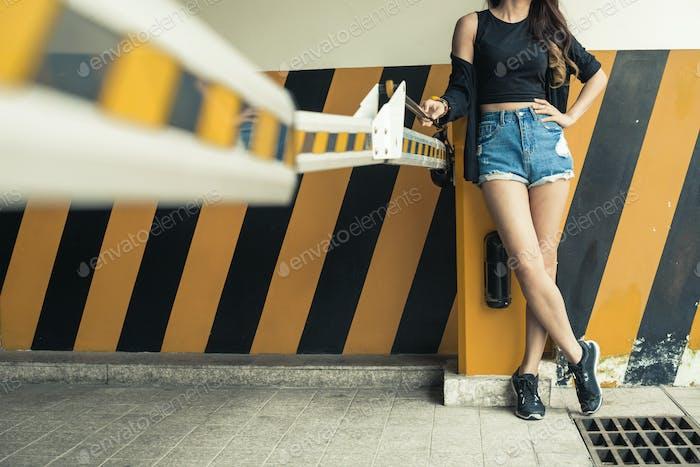 Girl at barrier