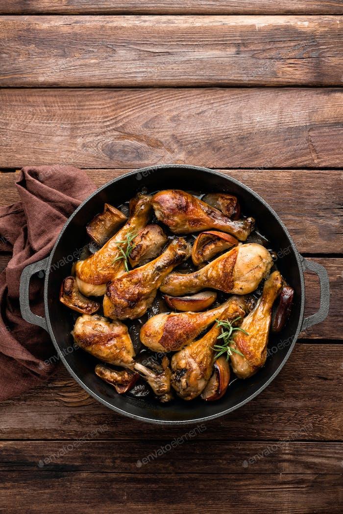 pollo, baquetas