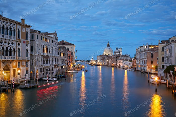 Grand Canal in Venice illuminated in the evening in Italy