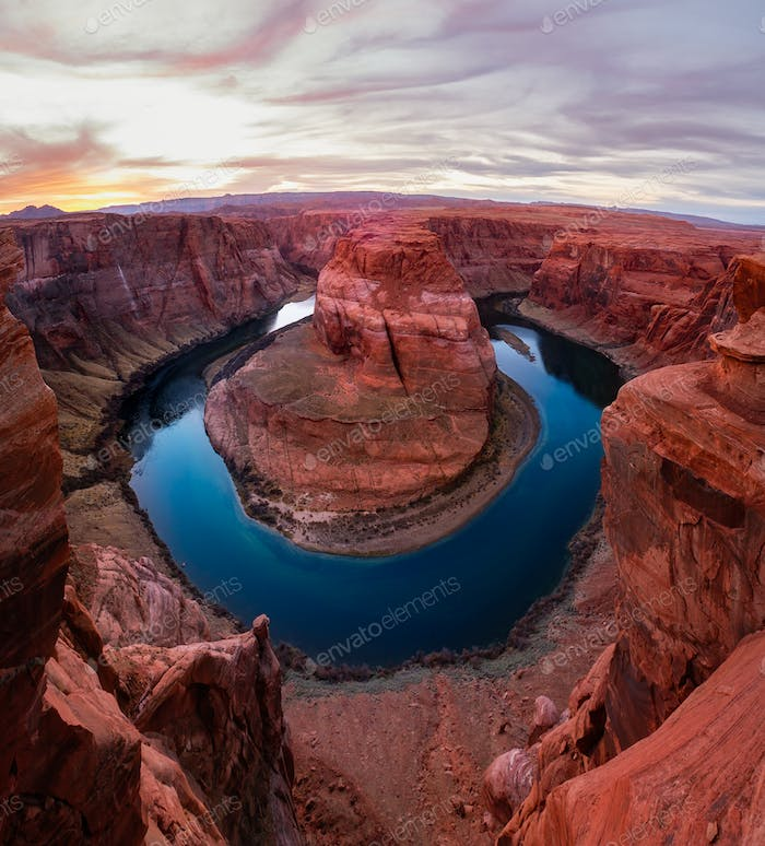 Landscape view of Horseshoe bend and Colorado river at sunset
