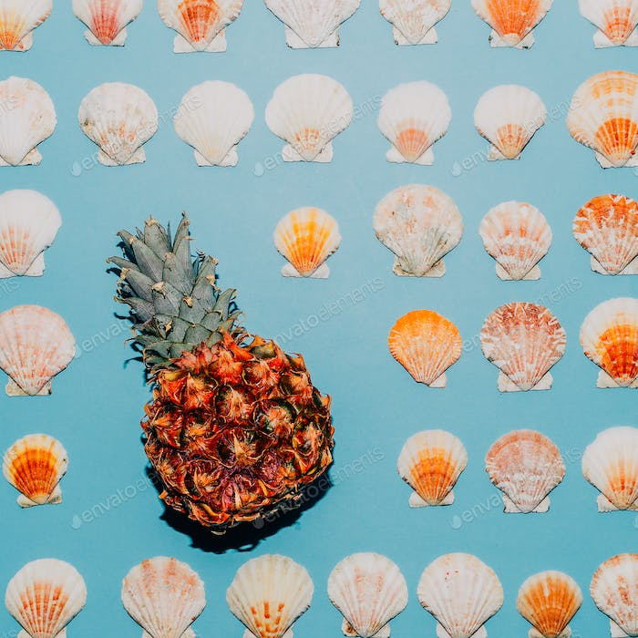 Background of seashells and pineapple Minimal style art