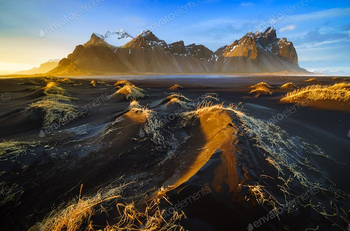 Vestrahorn mountain at sunset, Stokksnes, Iceland