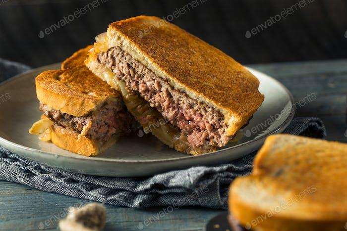 Homemade Cheesy Patty Melt Sandwich