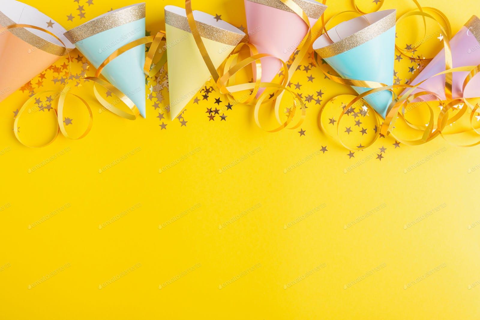 Birthday Party Background On Yellow Photo By Valeria Aksakova On Envato Elements