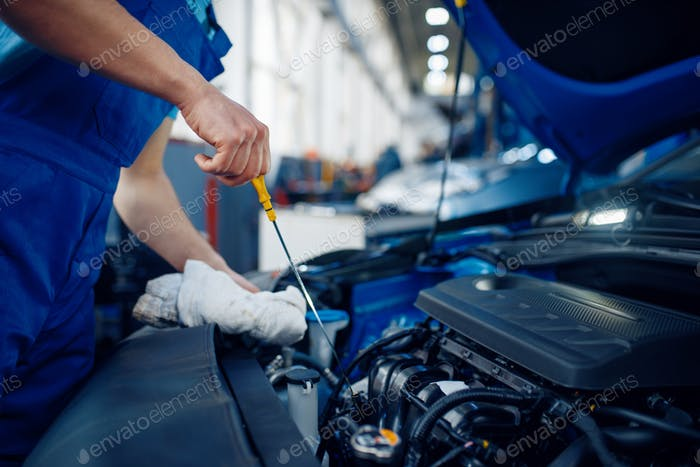 Worker checks the engine oil level, car service