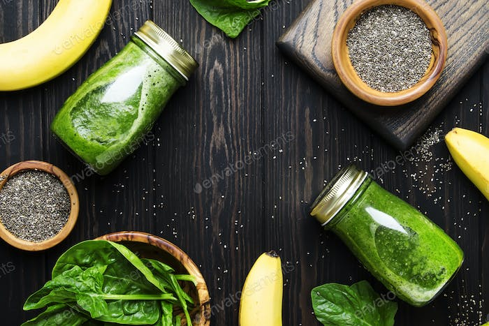 Incredibly useful green spinach smoothies in glass bottles with chia
