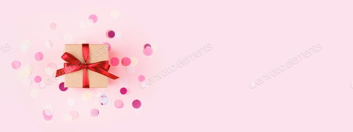 Banner with Gift Box and Confetti on Pink Background.
