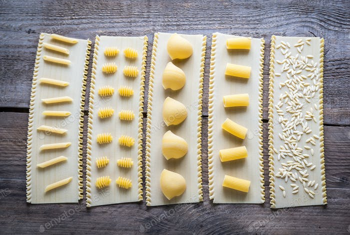 Various types of pasta on lasagne sheets