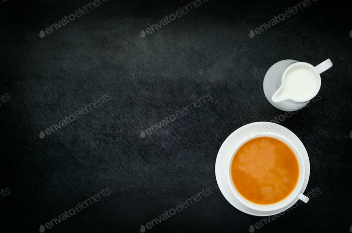 Black Tea with Milk and Copy Space