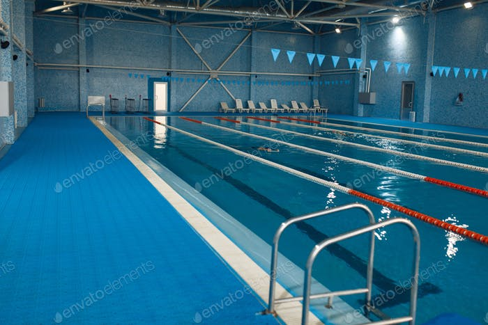 Sport swimming pool interior, nobody