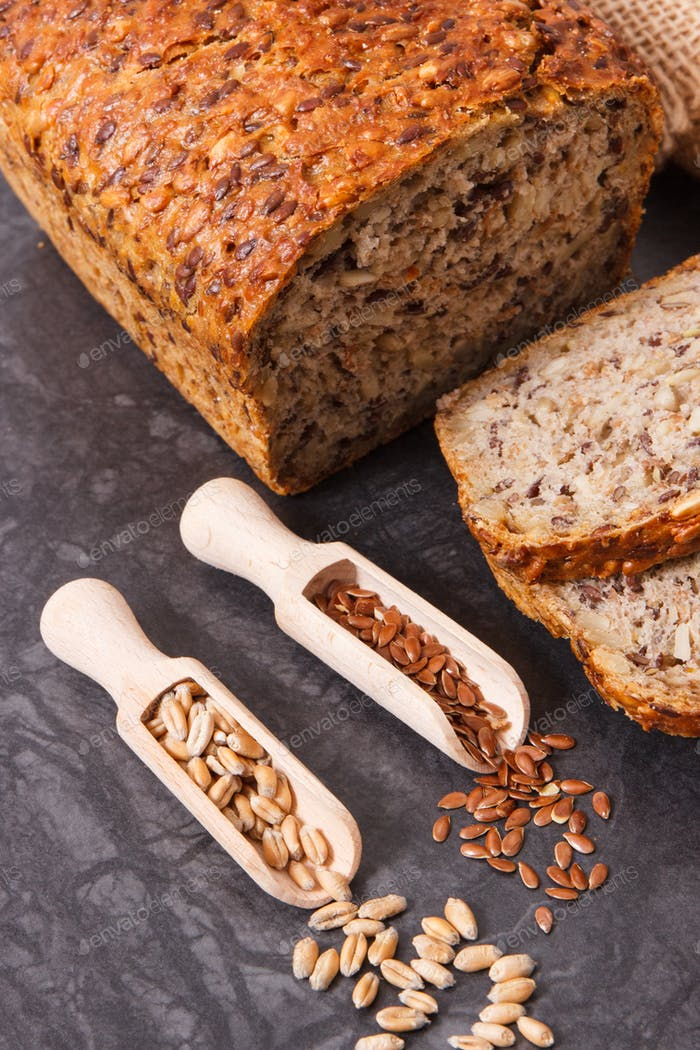 Wholegrain bread with ingredients for baking