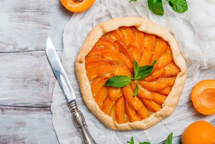 Homemade apricot galette