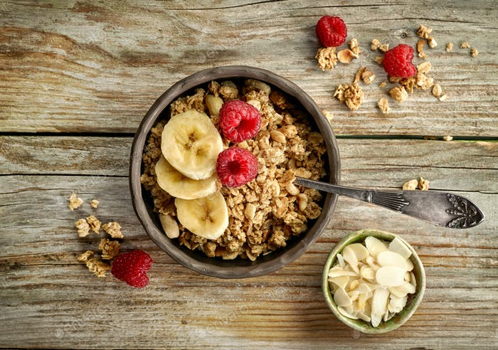 bowl of granola with banana