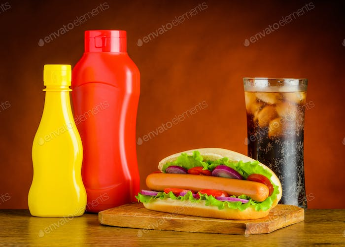 Hot Dog with Ketchup, Mustard and Glass of Cold Cola
